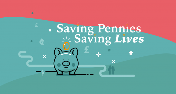 Saving Pennies Saving Lives logo which includes a small pink piggy bank with coin dropping in