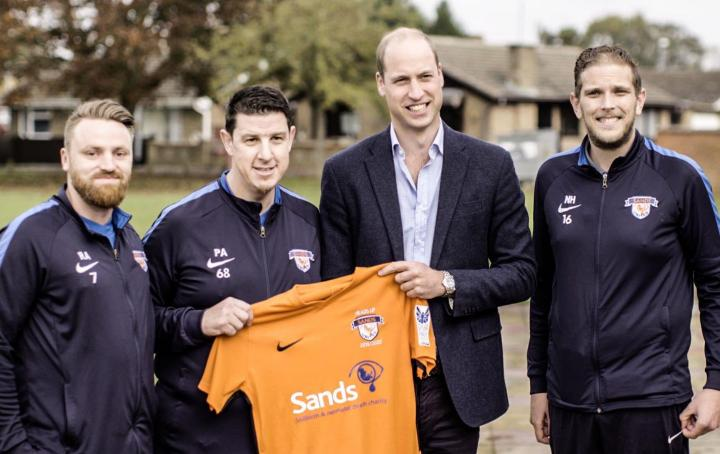 Sands United FC and HRH The Duke of Cambridge